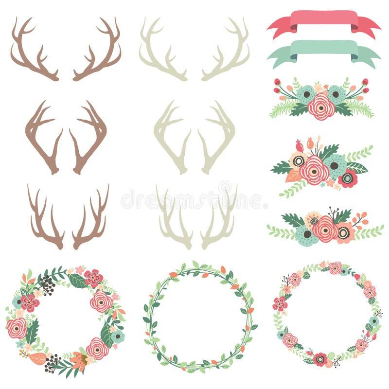 Wedding Flower Antlers Set royalty free illustration