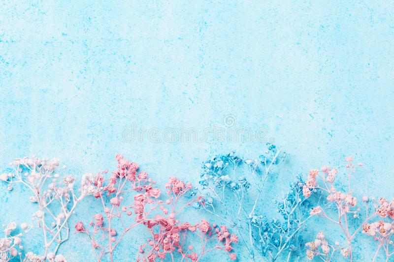 Wedding flower border on blue pastel background top view. Beautiful floral pattern. Flat lay style. Woman or mother day greeting c. Wedding flower border on blue royalty free stock photo