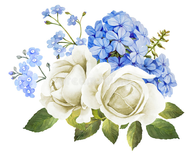Wedding flower bouquet in blue and white vector illustration