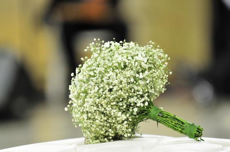 Wedding flower bouquet on table stock photo