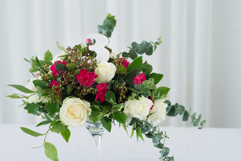 Wedding Flower Composition On Table. Bouquet With Roses With Number ...