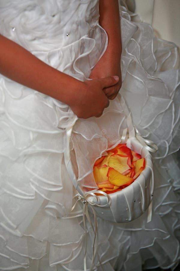 Wedding flower girl holding flower basket. Wearing a white dress royalty free stock image