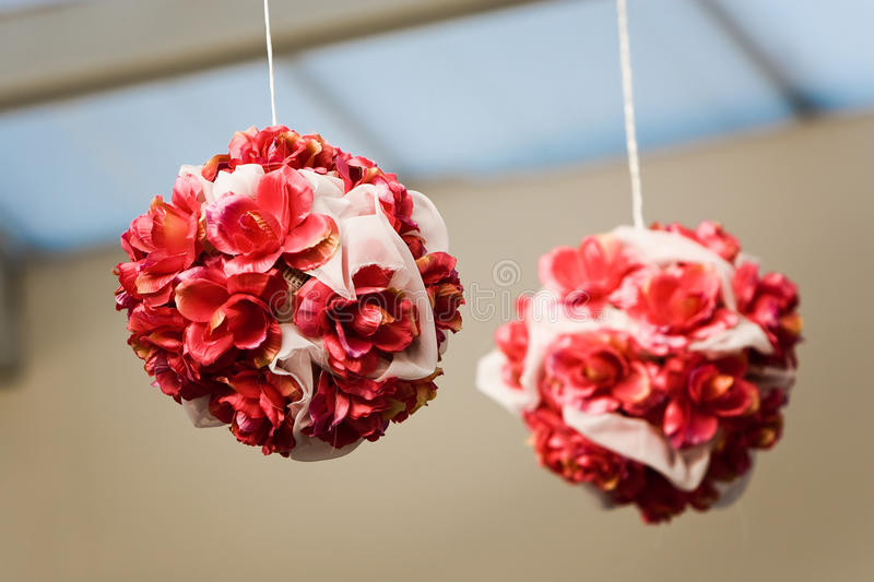Wedding flowers. Raw of carnations balls as a wedding decor royalty free stock image