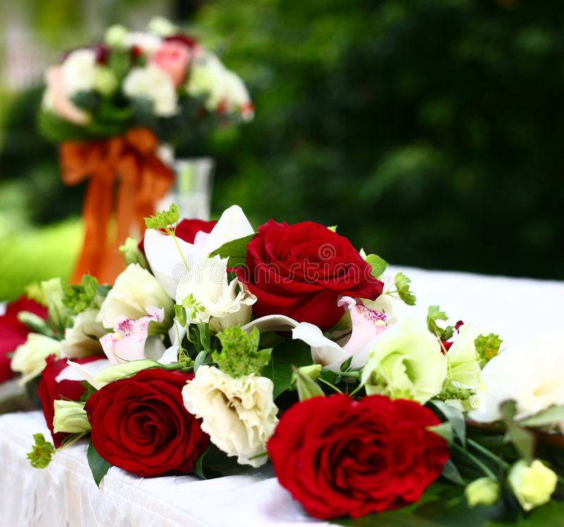 Wedding flowers. Bouquet on the table. shallow focus royalty free stock images