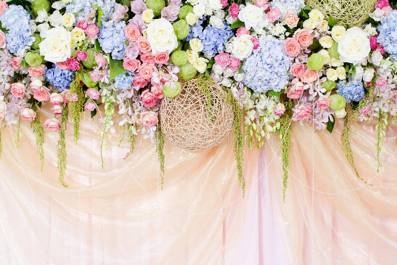 Closeup Wedding Colorful Beautiful Flowers Decorations Design Background