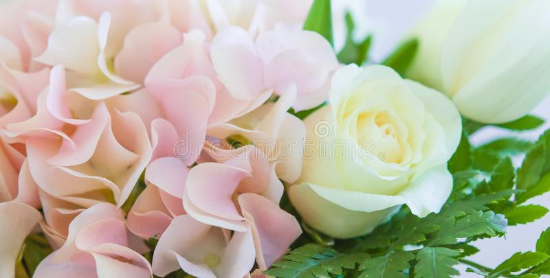 Wedding flowers, wedding bouquet close-up. Ornaments from roses and ornamental plants, on a postcard stock photos