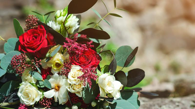 Wedding flowers, bridal bouquet closeup. Greeting card. Romantic flowers for celebration Valentine`s day royalty free stock photography