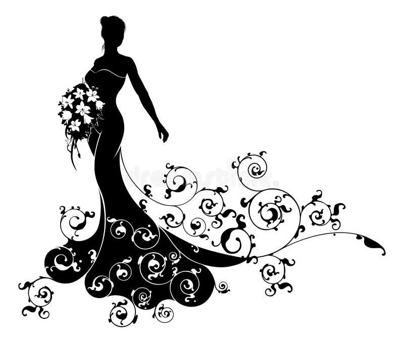 Wedding Gown Silhouette: Wedding Flowers Bride Silhouette Pattern Stock Vector