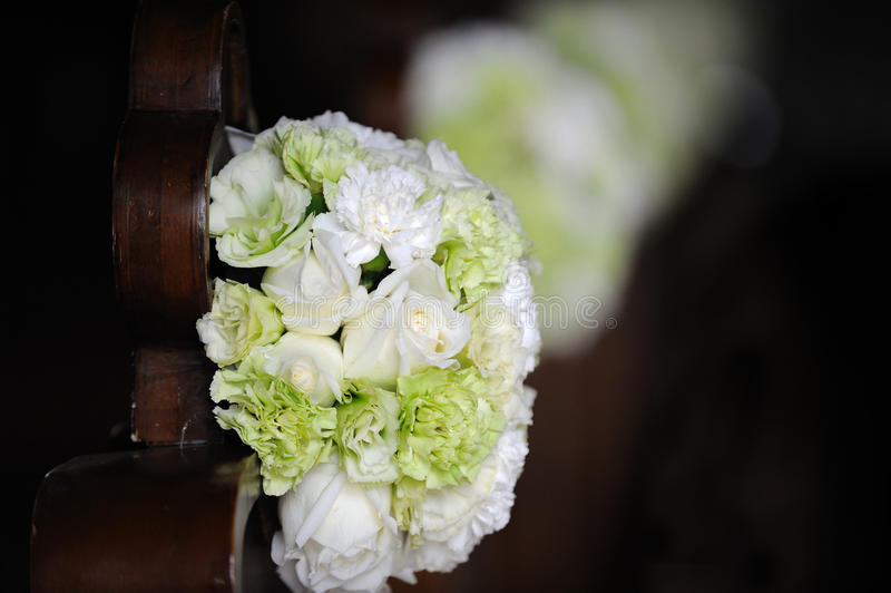 Wedding flowers in the church royalty free stock photo