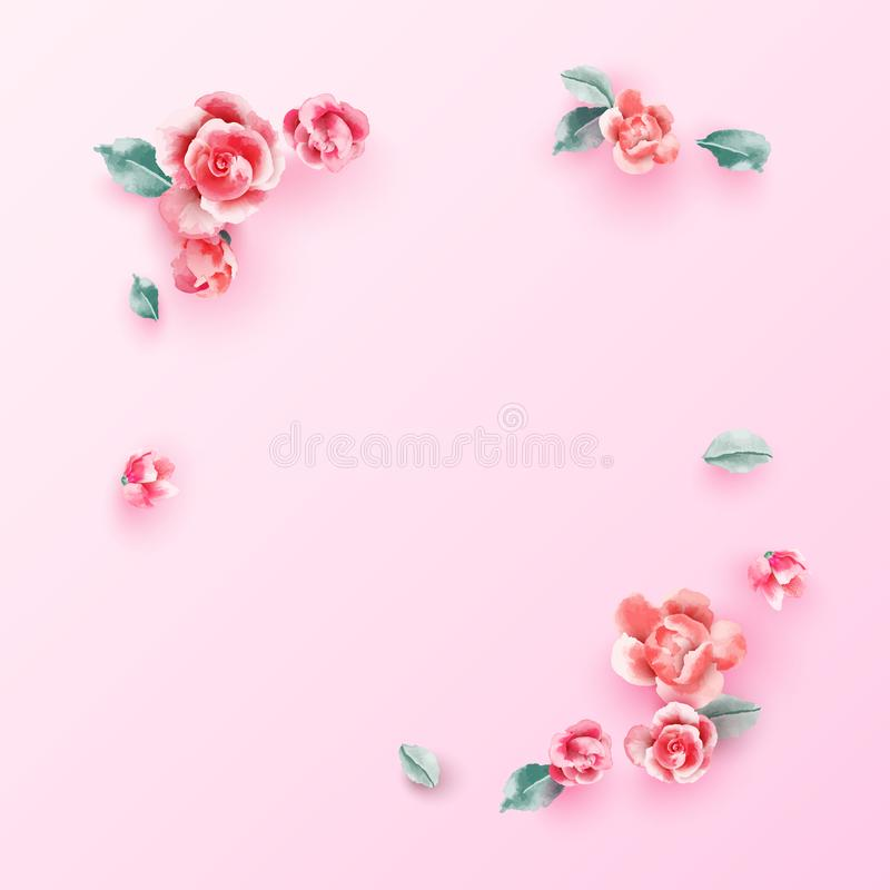 Wedding flowers frame on pastel pink background from above. Beautiful pink roses template. Flat lay. Vector illustration. stock illustration