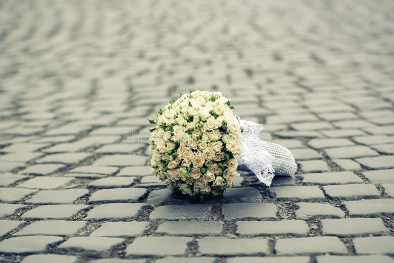 Wedding flowers on road royalty free stock photo