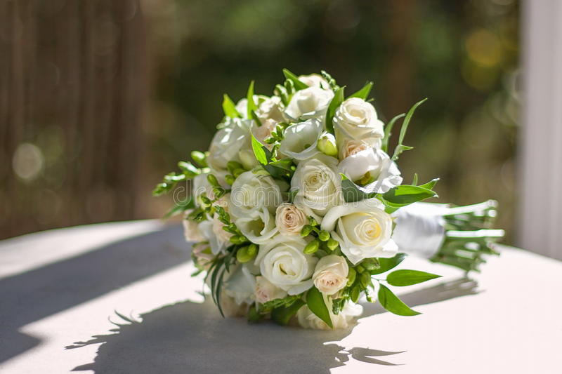 Wedding flowers. On the table royalty free stock photo