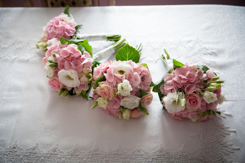 Wedding Flowers. On the table stock image