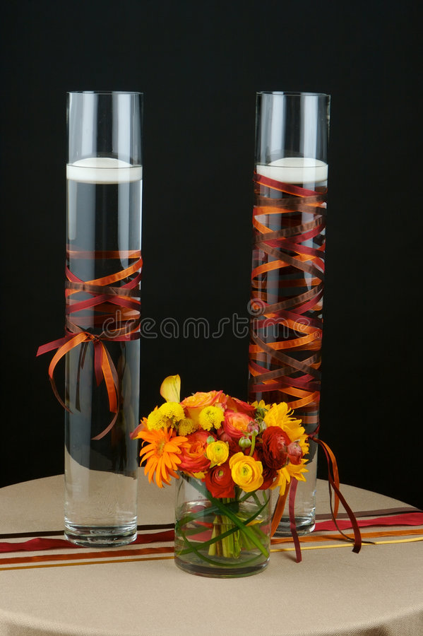 Wedding flowers table centre piece royalty free stock image