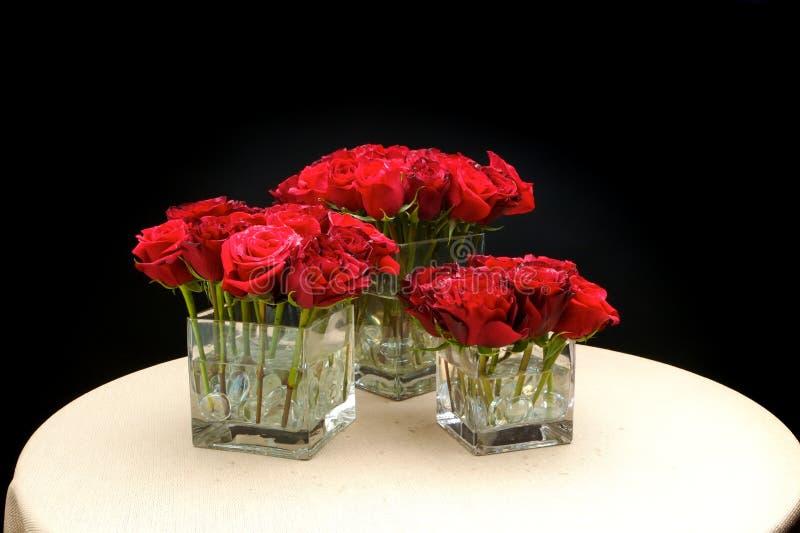 Wedding flowers table centre piece stock photo
