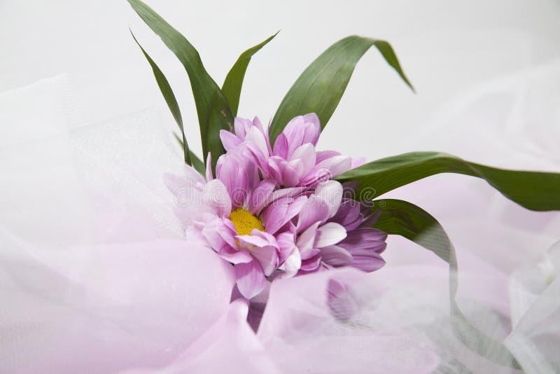 Wedding Flowers.  Veil Background Royalty Free Stock Photos
