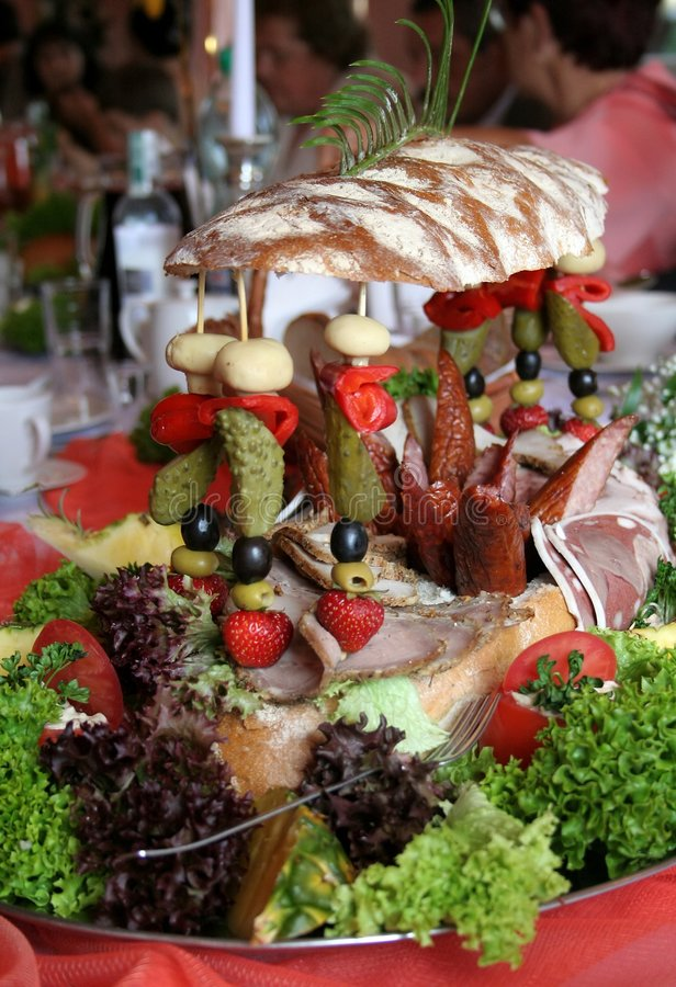 Wedding food. At the table stock photos