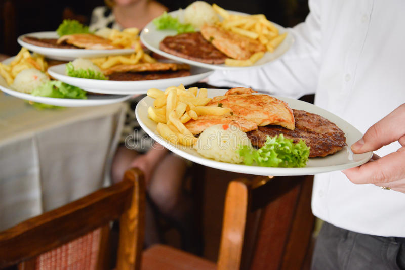 Wedding food being served. Picture of a Wedding food being served royalty free stock photography