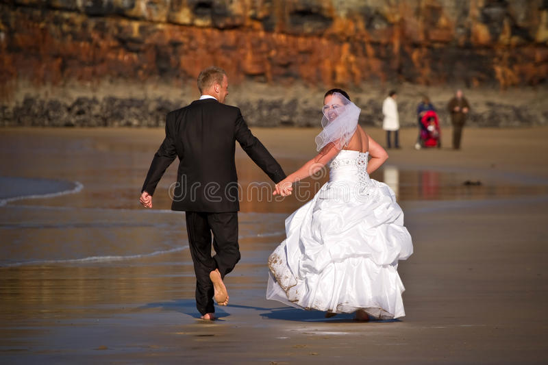 Download Wedding fun on the beach stock image. Image of portrait - 17114827