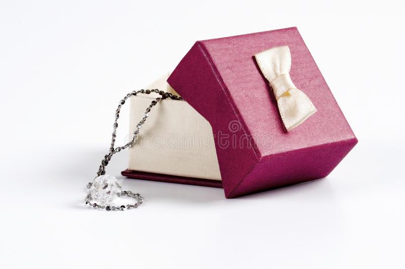Wedding gift box. Wedding gift for your lover and necklace royalty free stock image