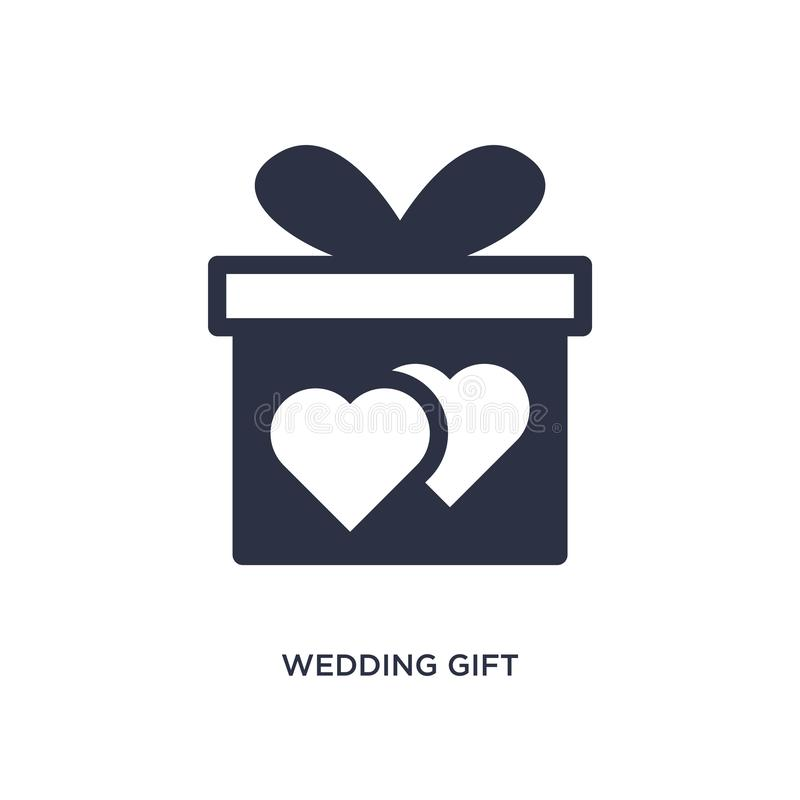 wedding gift icon on white background. Simple element illustration from birthday party and wedding concept stock illustration
