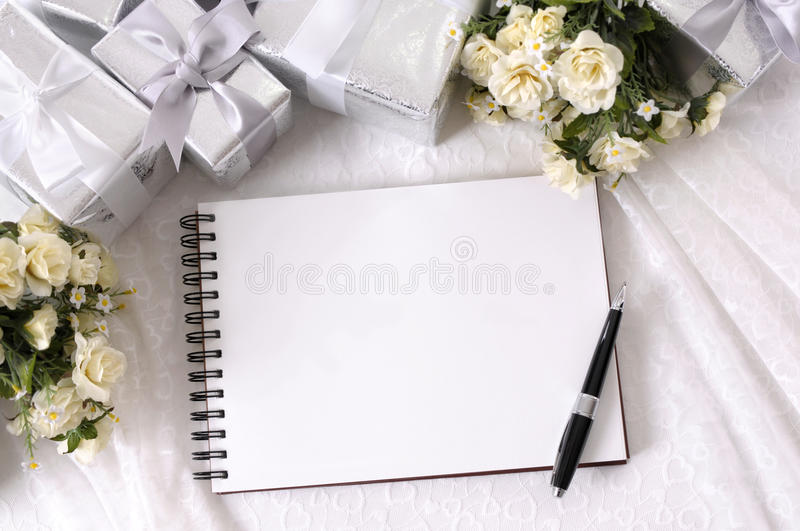 Wedding album writing book background copy space stock image