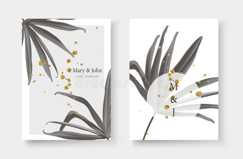 Wedding gold black white monochrome tropical invitation card with fan palm leaf stock illustration