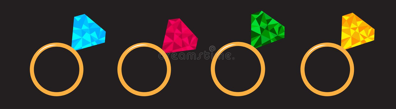 Wedding gold diamond ring set line. Polygonal effect. Blue, pink, green, yellow color. Flat design. Love wedding atribute. Black. Background. Isolated. Vector royalty free illustration