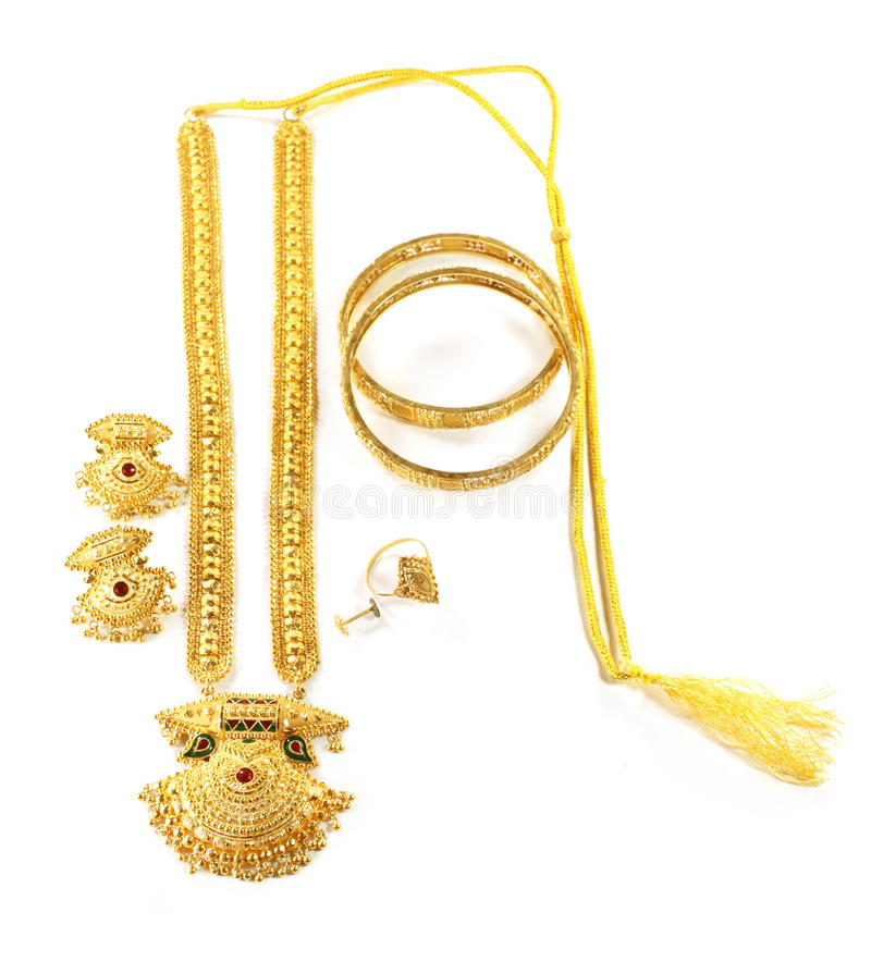 Wedding Gold Jewelry For Indian Bride Stock Image - Image of metal ...