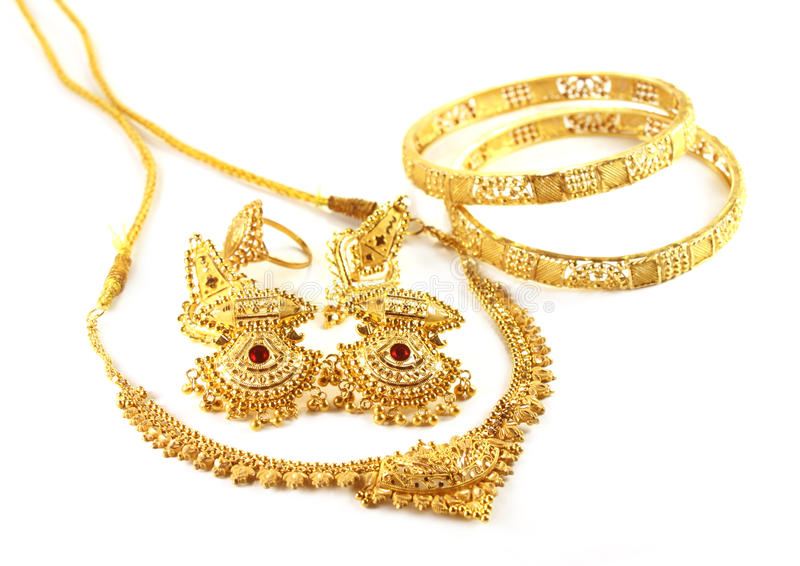 Wedding Gold Jewelry For Indian Bride Stock Photo Image of bridal