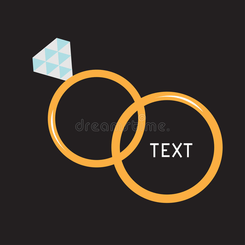 Wedding gold ring with diamond. CardWedding ring with diamond. Wedding gold rings. Diamond. Vector illustration. Card vector illustration