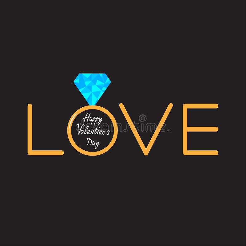 Wedding gold ring with polygonal blue diamond. Wo. Rd love. Valentines day card. Vector illustration royalty free illustration