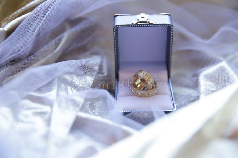 wedding gold rings in a box on a golden fabric with a veil. Luxury. royalty free stock photos