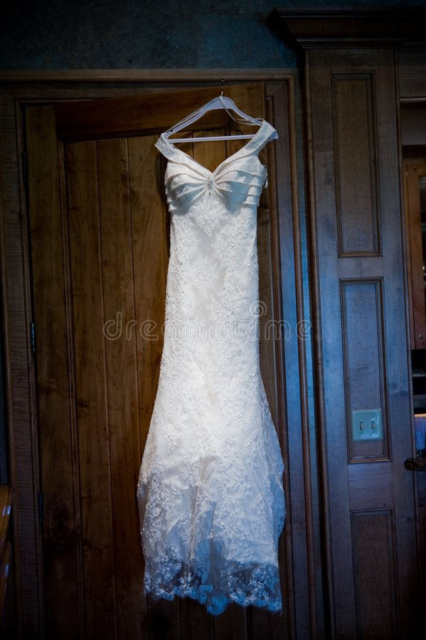 Wedding gown before a ceremony royalty free stock images