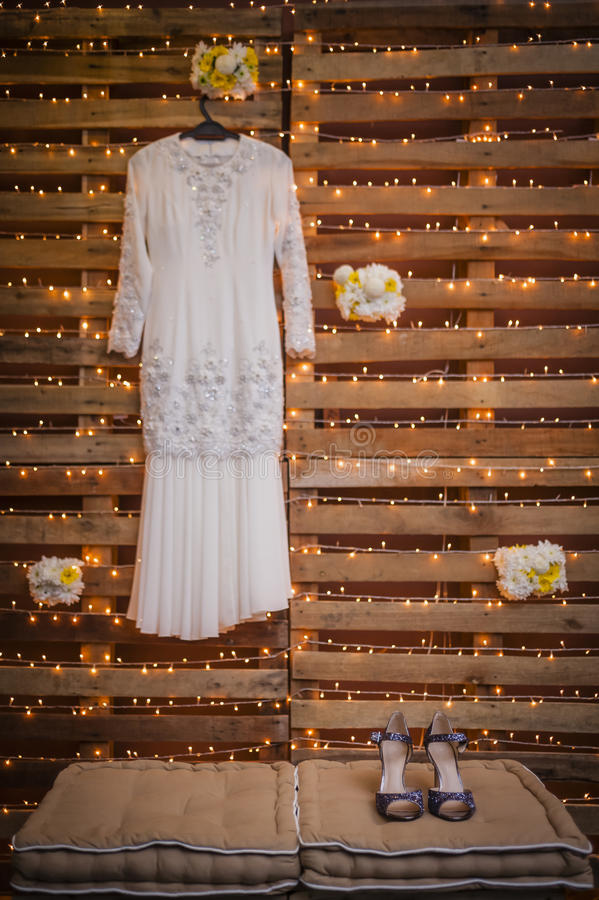 Wedding Gown and Shoes stock image