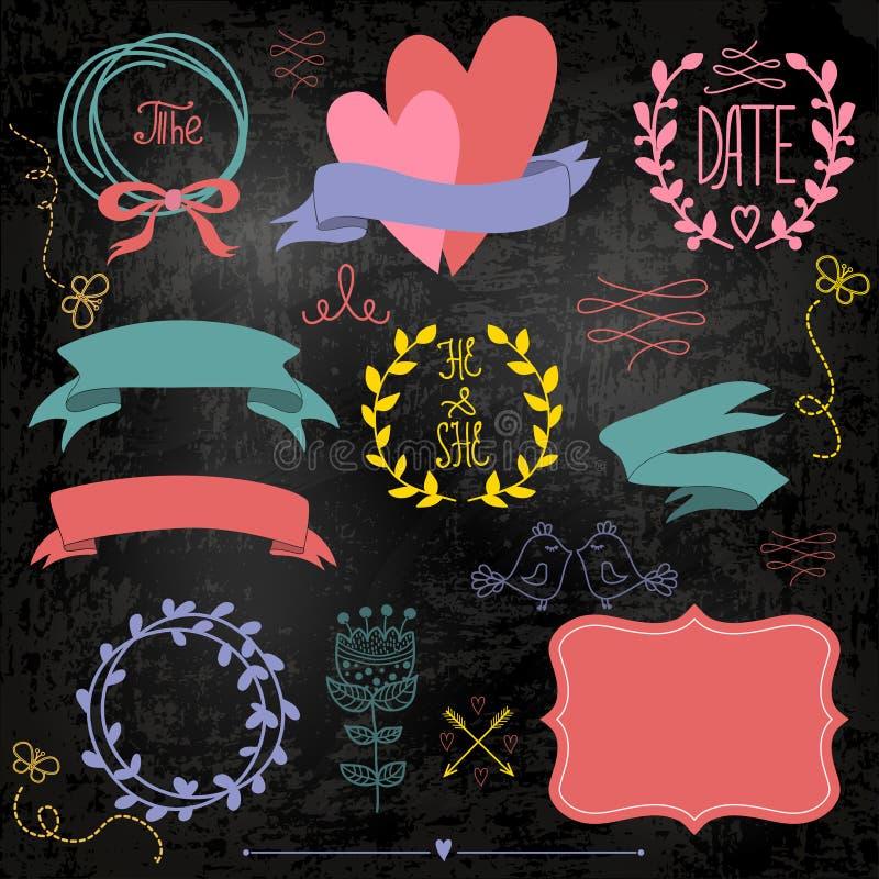 Wedding graphic set on chalkboard. stock illustration