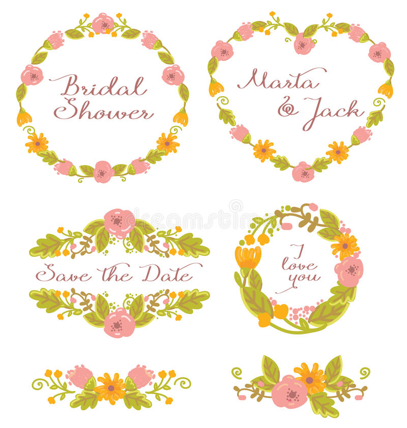 Wedding Graphic Set: Frames, Wreath And Flowers Stock Photo - Image ...