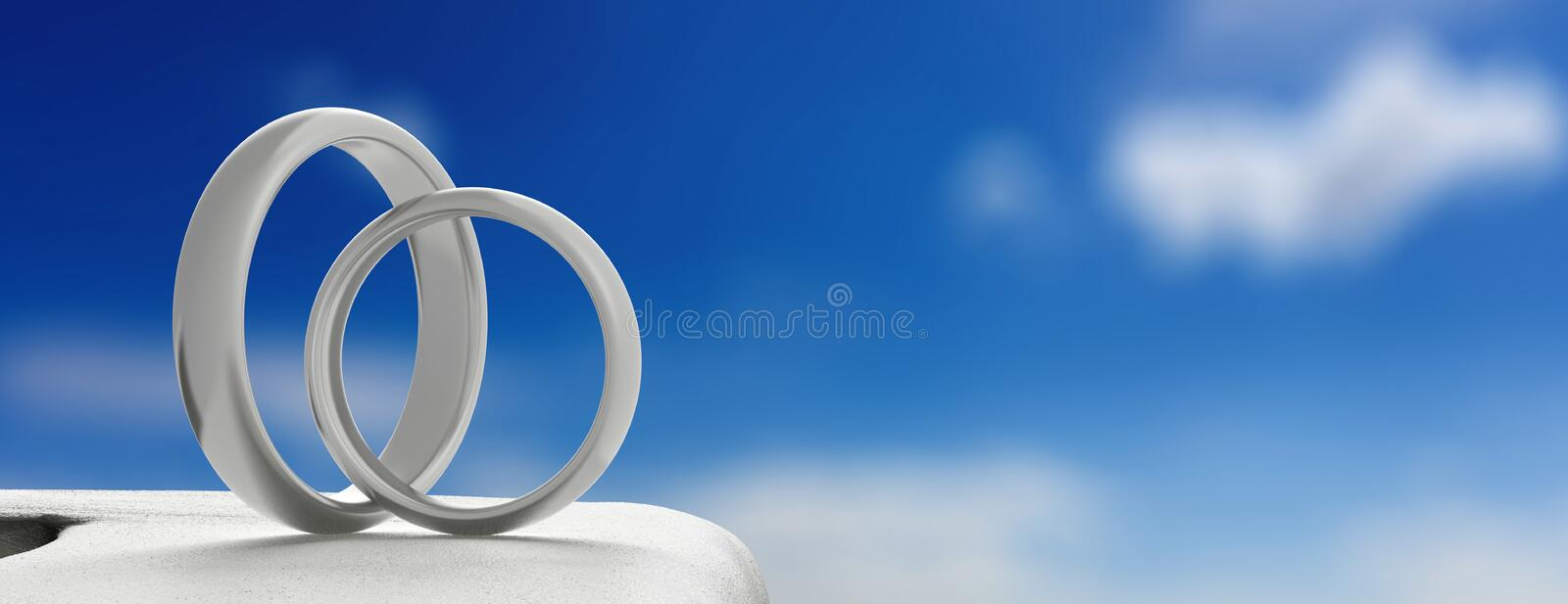Wedding at a greek island. Wedding rings on a whitewashed wall, blue sky background, banner, copy space. Wedding in a greek island concept. Wedding rings on a vector illustration