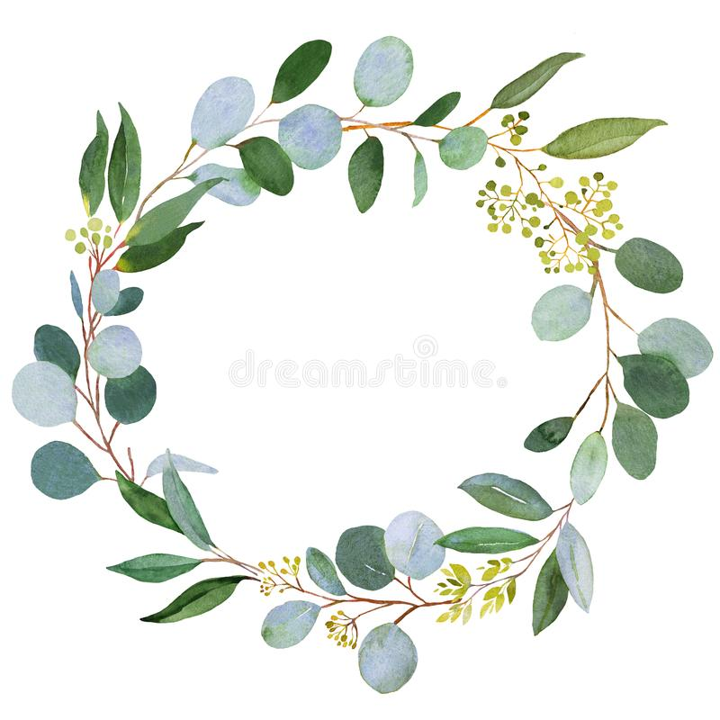 Wedding Greenery Wreath Watercolor Illustration With