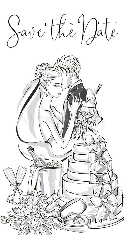 Wedding greeting card with bride and groom, wedding cake, champagne, flowers and wedding rings. Clip art set black and white weddi stock illustration