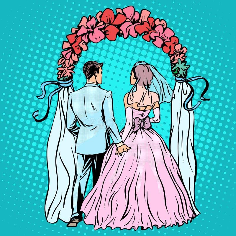 Wedding groom bride altar stock vector. Image of retro - 64955543