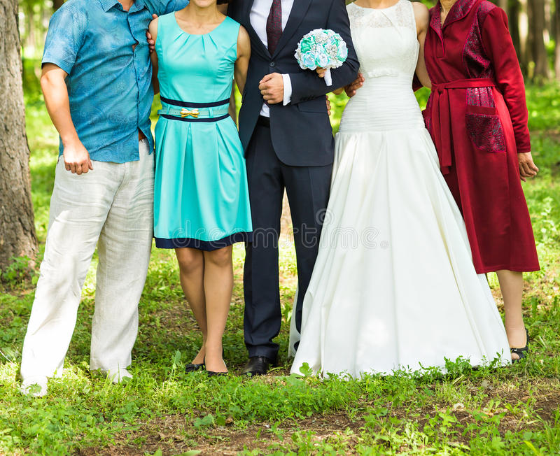 Wedding guests and newlyweds royalty free stock photography