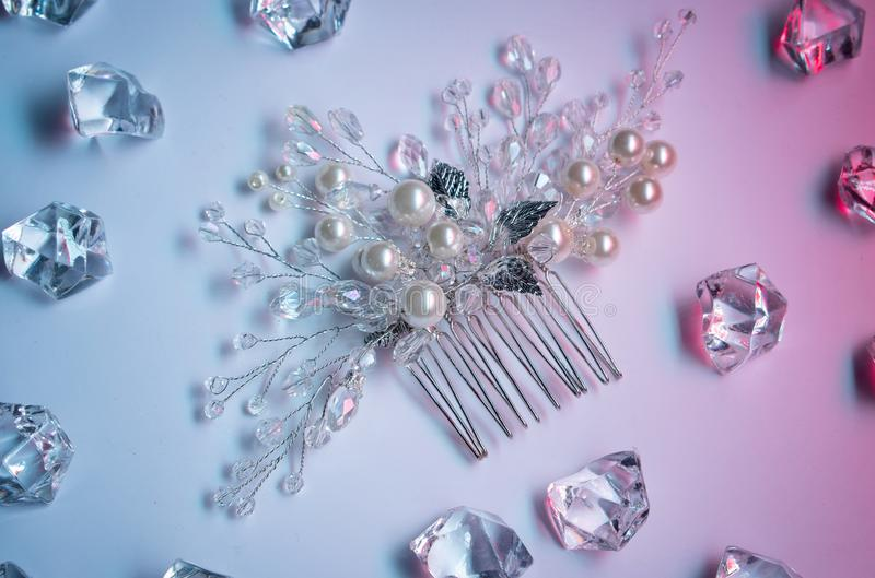 Wedding hair clip, jewelry with pearls and accessories stock images