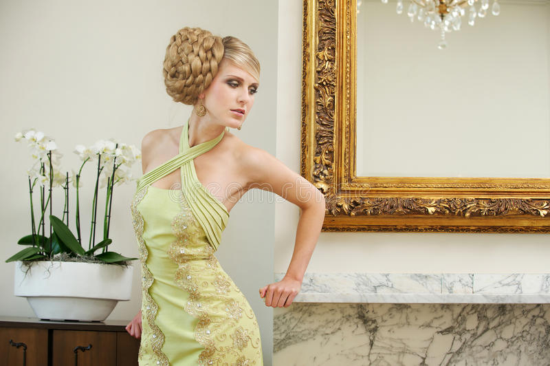 Wedding Hairstyle. Portrait of a beautiful bride with wedding hairstyle stock photography