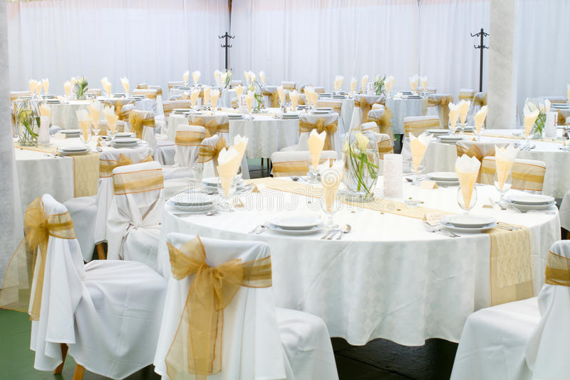 Wedding hall. An image of tables setting at a wedding hall royalty free stock photography