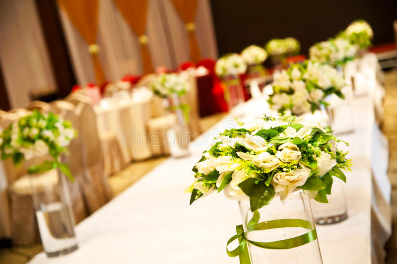 The wedding hall. A beautiful wedding banquet hall stock photo