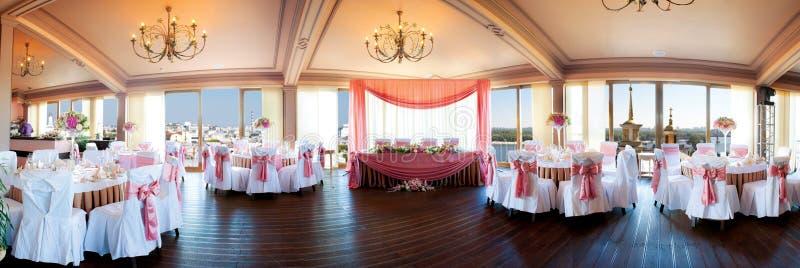 Wedding hall. Wedding preparation done at a fancy reception hall stock image