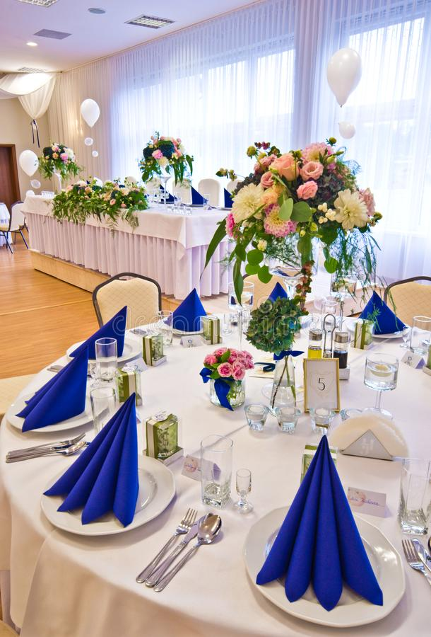 Wedding hall table flowers decoration detail stock image