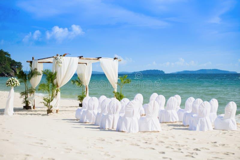 Wedding Hall. Wonderful sea view concept decoration for wedding on the beach at Sokha Beach resort, Sihanouk Ville, Cambodia stock photography