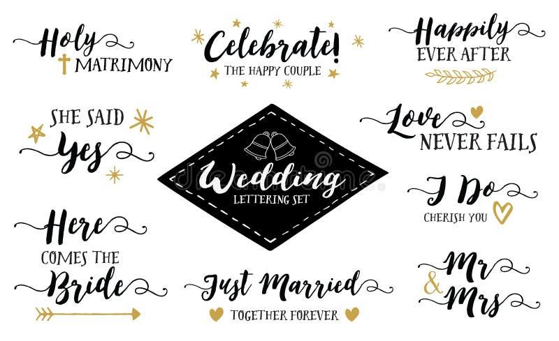 Wedding Hand Lettering Phrases Vector Set stock illustration